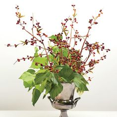 Sculptural and Organic Arrangement: Cluster three stems of buckthorn berries on the right and two toward the back. Then add the variegated pittosporum and place trailing ivy on one side for a modern, asymmetrical look.