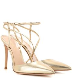 Gianvito Rossi Carlyle Metallic Leather Slingback Pumps For Spring-Summer 2017