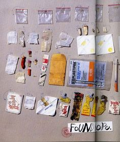 """Candy Jernigan's work was based on """"evidence"""", or proof of her existence. She collected objects and kept records of the things she saw and places she went, then made her findings into books. Her objects ranged from ticket stubs and receipts to dead bugs.    -Erin Lanagan"""