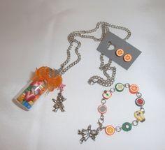 collar, pulsera y pendientes de frutas hechos a mano