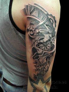 Half Clock Calavera Skull Tattoos On Arm