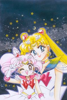 Sailor Moon and Sailor Mini Moon Sailor Mars, Sailor Moon Manga, Sailor Pluto, Sailor Moon Art, Sailor Venus, Sailor Saturno, Princesa Serenity, Sailor Moon Kristall, Sailor Moon Wallpaper