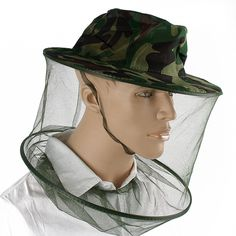 2017 New Useful Anti-Mosquito Bee Insect Hats Fishing Mask Face Protect Hat  Net Camo 722288b0b462
