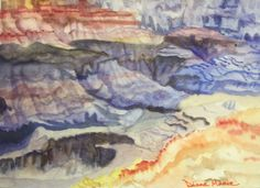 YODELAYHEE-HOOOOO   Watercolor Grand Canyon south rim, AZ 11 x 14 with mat and glass float frame included  $120  From Southwest tour series show