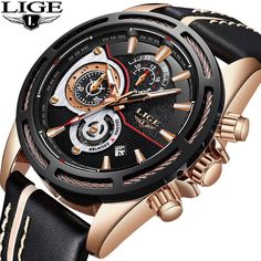 c14d9a2b75c LIGE New Mens Watches Top Brand Luxury Quartz Watch Men Calendar Leather  Military Waterproof Sport Wrist