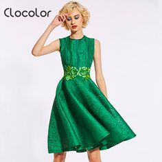 >> Click to Buy << Clocolor Women Vintage Dress Summer Sleeveless Plain Embroidery Floral Knee-Length Green Single  Female 2017 Women Vintage Dress #Affiliate