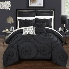 Chic Home CS2224-AN Rosalia 7Piece Rosalia Floral Ruffled Etched Embroidery Queen Comforter Set Black,Queen