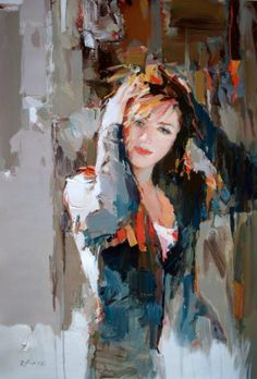 Albania-born modern artist Josef Kote painted fabulous feminine figurative paintings with gentle touch, and softer color palette.