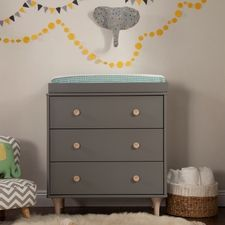 Grey and Washed Natural Lolly 3 Drawer Changer Dresser