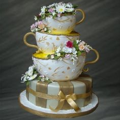 This quirky and lovely teacup cake is a perfect addition to your next garden party.