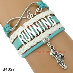 (10 Pieces/Lot) Infinity Love Running Wrap Bracelet Running Shoe Sneakers Heart Charm Pink Blue White Suede Custom any themes