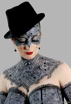 Grey lace face- & bodypaint.  Artist: Merel Wismeijer Model: Rudi Photo: Face Fantasy BodyArt  Facefantasy.nl Amersfoort