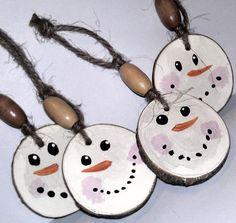 Snowman Christmas Ornament - Rustic Primitive Tree Decor