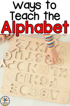 Looking for ways to teach the alphabet? These fun Letter Knowledge activities will help your kids learn the letters and pre-reading skills. Teaching Letter Recognition, Teaching Letter Sounds, Teaching The Alphabet, Teaching Phonics, Teaching Kids, Toddler Learning Activities, Alphabet Activities, Literacy Activities, Kids Learning