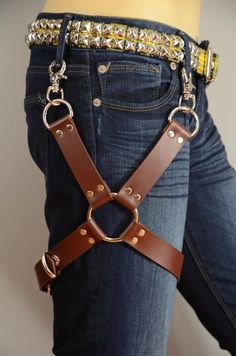 Leather Thigh Harness Leg Garter with Ring & buckle for Jeans or Pants-Brown