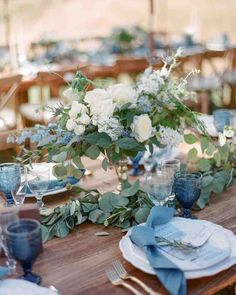 20 Blue Color Wedding Palettes We Love | Martha Stewart Weddings - Having the blues never looked so good. Learn how to incorporate the serene color into every element of your big day with the perfect blue wedding color palette. #weddingideas #weddingcolors #bluewedding
