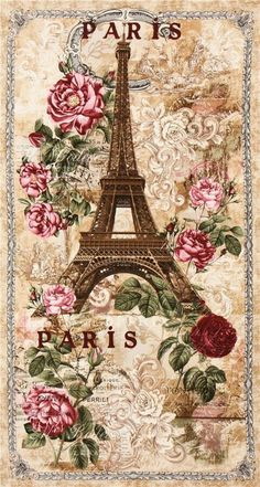 Paris Rendezvous - Eiffel Tower Rose - Tea Dye - 24 x 44 PANEL Quilt fabric online store Largest Selection, Fast Shipping, Best Images, Ship Worldwide Decoupage Vintage, Decoupage Paper, Vintage Paris, Vintage Flowers, Scrapbooking Vintage, Paris Quilt, Paris Cards, Etiquette Vintage, Paris Wallpaper