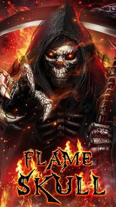 Badass Wallpapers For Android 05 40 Grim Reaper Flame Skull - HD Wallpapers Grim Reaper Art, Don't Fear The Reaper, Hd Skull Wallpapers, Live Wallpapers, Skull Pictures, Dragon Pictures, Dark Background Wallpaper, Badass Skulls, Funny Wallpapers