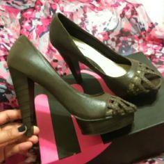 Brown Heels Platform heels. Dark brown. Cute braided cage front. Michael Antonio Shoes Heels