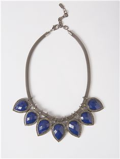 Statement Necklace With Faceted Teardrop Lapis Stones