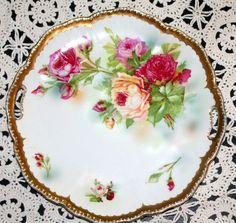 Beautiful Antique Plate with Colorful Peonies with Gold Edging