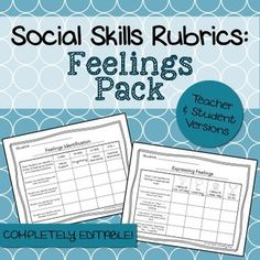These rubrics were designed to help counselors, teachers, social workers, or SLPs keep track of a student's progress on #feelings goals. The set includes 7 rubrics in both a teacher and student version (for a total of 14 rubrics + 2 blank ones to customize). Presented in PDF and editable Powerpoint format!