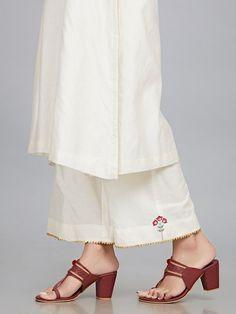 Off White Embroidered Chanderi Silk Kurta with Cotton Silk Palazzo - Set of 2 Silk Kurti Designs, Salwar Designs, Embroidery Suits Punjabi, Suits For Women, Clothes For Women, Kids Dress Wear, Embroidery Fashion, Hand Embroidery, Cotton Silk