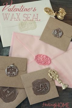 Valentine's Day Custom Wax Seal Craft Project at Finding Home ! Ive always loved wax seals! Love Valentines, Valentine Crafts, Holiday Crafts, Homemade Valentines, Invitation Fete, Wedding Invitations, Invites, Seal Craft, Diy Wax