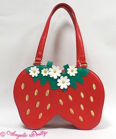 Angelic Pretty - Twin Berry Bag in Red Harajuku Fashion, Lolita Fashion, Kawaii Fashion, Strawberry Decorations, Unique Purses, Angelic Pretty, Monster Girl, Cute Bags, Dog Shirt