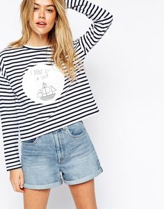 Image 1 of ASOS Top in Stripe with I Dont Give a Ship Print