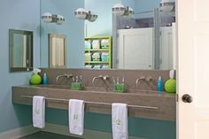 Houzz - Home Design, Decorating and Remodeling Ideas. Perfect for the kids bathroom floating cabinet and trough sink for 3.. love it