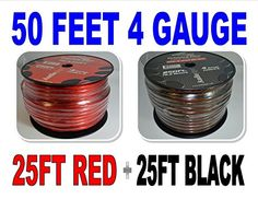 4 Gauge 25' BLACK and 25' RED Car Audio Power Ground Wire Cable 50' ft Total. If More Than 1 Quanity Is Purchased, Wire Will Be Cut And Shipped In One Continuous Piece Up To 250ft. We Have Full Spools Also If Needed Please Contact Us About Full Size Spooled Wire. Free Shipping. Audiopipe 4 Gauge Red And Black 25 Ft Of Each Wire Is Cut Off Of A Roll, So This Is Hand Rolled And Does Not Include Spool.