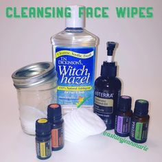 DIY Face Wipes Glass jar *Cosmetic cotton rounds *1/4 cup distilled water *3 TBS witch hazel *8 drops lavender  *8 drops melaleuca  *4 drops frankincense  *3 drops helichrysum  *1 tsp carrier oil. Combine all liquid ingredients in a glass dish. Pour half of it into the jar and fill with cotton pads. Pour the rest of the mixture over the top of the cotton pads. Carrier oil is completely optional. I make it both ways depending on the season #DIY #doterra (from ashleyjeanmarie on IG)