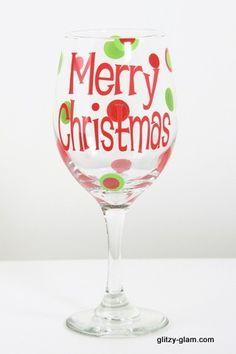 merry christmas wine glass