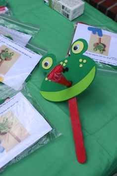 "Photo 1 of Frogs, Snails and Puppy Dog Tails / Birthday ""Tucker is ONE! Frog Birthday Party, 3rd Birthday Parties, Boy Birthday, Daycare Crafts, Toddler Crafts, Crafts For Kids, Reptile Party, Frog Crafts, Animal Crafts"