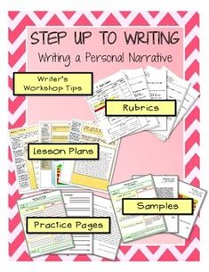 ***MORE PAGES ADDED***Teach your students great writing skills by organizing their ideas using Step up to Writing. This Personal Narrative Step up to Writing packet includes: - Lesson Plans - Step up to Writing Packet for students - Samples - 5 Grading Rubrics to choose from - Writer's Workshop Tips Common Core aligned.