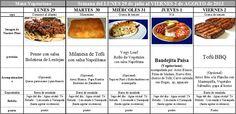 Menú Vegetariano del 29 de Julio al 2 de Agosto de 2013