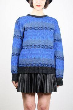 Vintage Blue Black Sweater Cobalt Blue Royal by ShopTwitchVintage #vintage #etsy #1980s #80s #sweater #jumper #newwave