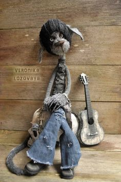RESERVED. Gothic Alley Cat Oogy. Rag and Mohair Doll. 22'' tall.., via Etsy.