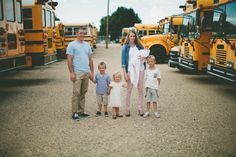 family photo shoot at a bus lot. LOVE THIS!