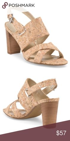 NIB Adrienne Vittadini heels Cork with silver and a wooden heel. Dress up or down. Brand new in box Adrienne Vittadini Shoes Heels