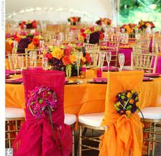 Trend #4: Bold Color Brightly colored napkins and table linens are being used to play up even brighter floral arrangements.  #brightweddingcolors #tablesettings