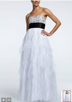 David's Bridal  Evening Dresses Strapless Cascade Ruffle Tulle Ball Gown Style 360135 $151.9 Evening Dresses