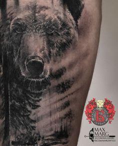 Фото тату Макс Иванов Mountain Sleeve Tattoo, Nature Tattoo Sleeve, Nature Tattoos, Unique Tattoos, Hand Tattoos, Sleeve Tattoos, Grizzly Bear Tattoos, Bear Sketch, Faded Tattoo