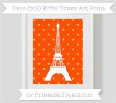 Orange Star Pattern  8x10 Eiffel Tower Art Print