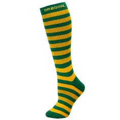 No. 6 - Oregon Ducks Ladies Green-Yellow Striped Knee Socks- must have to keep me warm at the games and tailgate parties this year