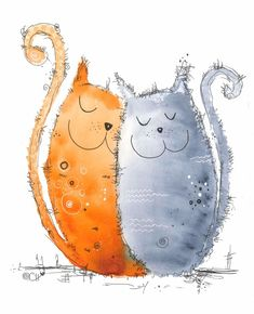 Two united harmoniously. by Clarissa Hagenmeyer - www.clarissa-h Watercolor Cards, Watercolor Paintings, Watercolors, Happy Paintings, Cat Cards, Happy Animals, Cat Drawing, Whimsical Art, Art Pictures