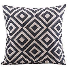 古典的な格子縞の綿/リネン装飾枕カバー - JPY ¥ 1,817