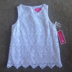 Lace Lilly Pulitzer for Target Tank White lace Lilly Pulitzer for Target tank top. Extremely rare- sold out in minutes. New with tags, includes extra button for back closure detail. Lilly Pulitzer for Target Tops Tank Tops