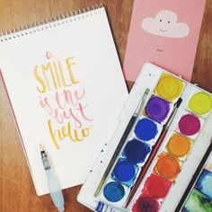 """Brush Lettering """"A smile is the best hello"""""""